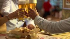 Stock video footage beer garden clink glasses 5 Stock Footage