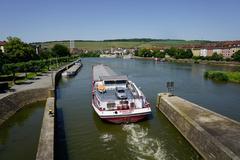 shipping on the river main, wurzburg, bavaria, germany, europe - stock photo