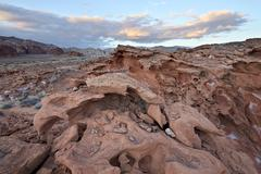 sandstone formation under clouds, gold butte, nevada, united states of americ - stock photo