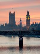 Big ben with hungerford bridge at sunset, london, england, united kingdom, eu Stock Photos