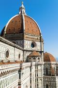 the dome of the duomo santa maria del fiore, florence (firenze), unesco world - stock photo