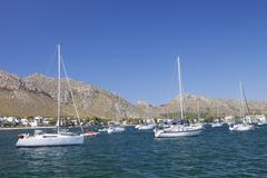 View over the marina to port de pollenca, pollenca, majorca (mallorca), balea Stock Photos