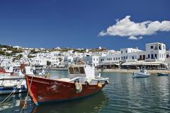 Fishing boats moored in the harbour, mykonos town (chora), mykonos, cyclades, Stock Photos