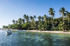 White sand beach, nanuya lailai island, the blue lagoon, yasawas, fiji, south Stock Photos