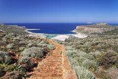 balos bay, gramvousa peninsula, crete, greek islands, greece, europe - stock photo