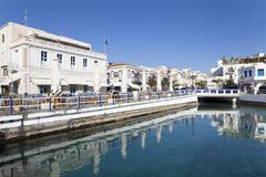 street cafes at the harbour, agios nikolaos, lasithi, crete, greek islands, g - stock photo