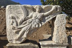 Relief of nike, winged goddess of victory, roman ruins of ancient ephesus, ne Stock Photos