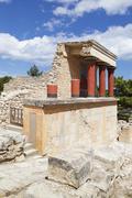 minoan palace, palace of knossos, north entrance, iraklion (heraklion) (irakl - stock photo