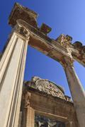 detail of the temple of hadrian, roman ruins of ancient ephesus, near kusadas - stock photo