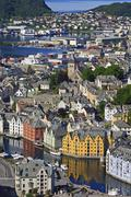 View from aksla hill over the art nouveau buildings of alesund and out to the Stock Photos