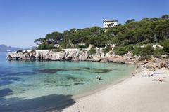 Beach and bay of cala gat, cala ratjada, majorca (mallorca), balearic islands Stock Photos