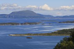 view from aksla hill over islands and green hills, alesund, more og romsdal,  - stock photo
