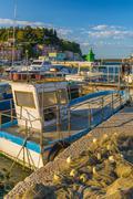 Fishing nets and fishing boat, old town harbour, piran, primorska, slovenian  Stock Photos