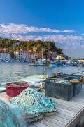 Stock Photo of fishing nets, old town harbour, piran, primorska, slovenian istria, slovenia,