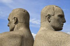 Back to back, detail of a sculptural group on the monolith plateau by gustav  Stock Photos