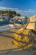 fishing nets, old town harbour, piran, primorska, slovenian istria, slovenia, - stock photo