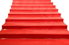 stairs covered with red carpet isolated - stock photo