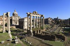 Elevated view of the columns of the temples of saturn and vespasian with sant Stock Photos