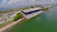 Miami Marine Stadium, aerial view Stock Footage