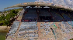 Miami Marine Stadium Aerials, ultra wide angle flying from left to right Stock Footage