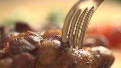Stock video footage cut off hot steak close up - stock footage