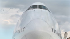 Cockpit Boeing747 at the airport on vletnoy band Stock Footage