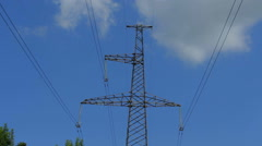 Electricity tower of metal with wires against the sky Stock Footage