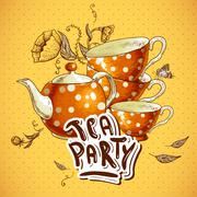 Tea party invitation card with a Cups and Pot - stock illustration
