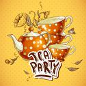 Stock Illustration of Tea party invitation card with a Cups and Pot