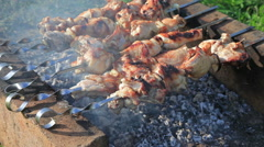 Barbecue with delicious grilled meat on grill Stock Footage