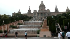 Montjuïc Palace , Cascade of Magnificent waterfalls at overcast day after rain. Stock Footage