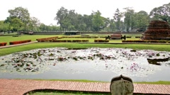 Side Panning Shot of a Pond at the Ruins of Sukhothai Stock Footage