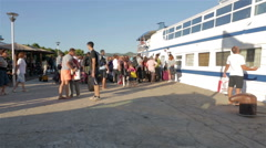 Passengers boarding the ship Stock Footage