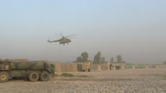 Afghan MI-17 Helicopter Lands on Base  (HD) Stock Footage