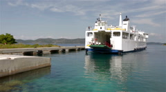 Jadrolinija car ferry docking on island Stock Footage