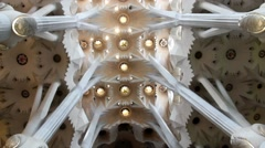 Ceiling of one of their pieces of the dome of Sagrada Familia  catherdral Stock Footage