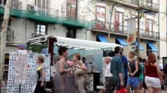 The Ramblas Barcelona. Stock Footage