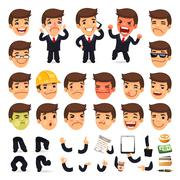 Set of Cartoon Businessman Character for Your Design Stock Illustration
