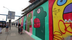 The east side gallery of Berlin - stock footage