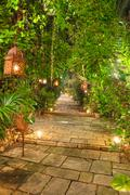 beautiful garden path at night. - stock photo