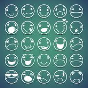 Cartoon Facial Expressions Icons Set Stock Illustration