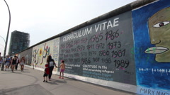 Panoramic view of the Berlin wall Stock Footage