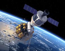 Crew Exploration Vehicle Orbiting Earth - stock photo