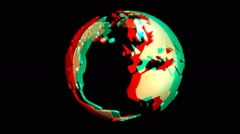 Animation of a rotating earth globe, stereoscopic Stock Footage