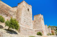 Exterior view of alcazaba walls. ancient fortress in malaga, andalusia, spain Stock Photos