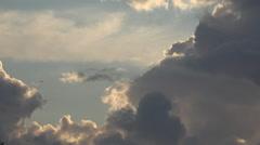 Plane pass near dramatic cloud stormy sky hurricane cyclone  beauty season day - stock footage