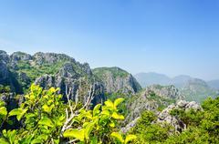 view on top of stone mountain - stock photo