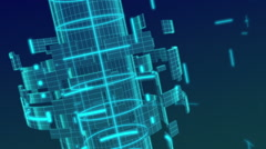 Loopable footage of wireframe metal  gird background spinning Stock Footage