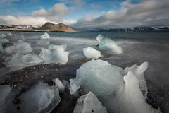 Ice on the Arctic beach - stock photo