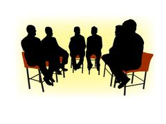 Stock Illustration of Group Silhouette of People Sitting in Meeting Illustration